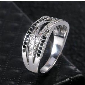 Womens new Black Sapphire 925 Jewelry Wedding Ring